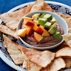 Spiced Black Bean Hummus with Marinated Peaches recipe