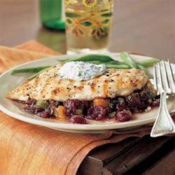 Pan-Grilled Chicken with Cranberry Salsa recipe