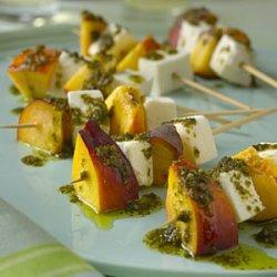 Mozzarella and Nectarine Skewers With Pesto recipe