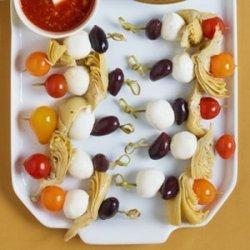 Mediterranean Skewers with Bloody Mary Vinaigrette recipe