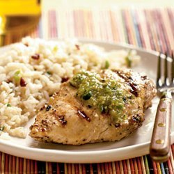 Grilled Cumin Chicken with Fresh Tomatillo Sauce recipe
