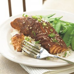 Grilled Salmon with East-West Spice Rub and Orange-Soy Glaze recipe