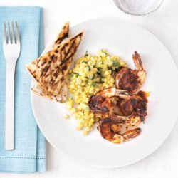Spicy Shrimp with Corn and Quesadillas recipe