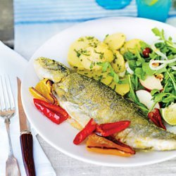 Pan-fried Trout with Smoked Salmon recipe