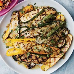 Grilled Summer Squash with Bagna Cauda and Fried Capers recipe
