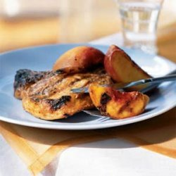 Peach-Glazed Barbecue Pork Chops and Peaches recipe