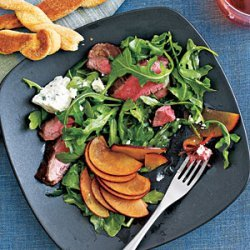 Flank Steak Salad with Plums and Blue Cheese recipe