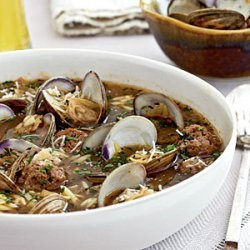 Clam Soup with Orzo and Meatballs recipe