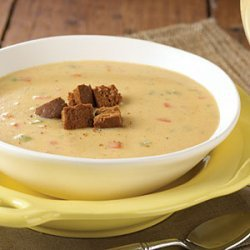 Canadian Cheese Soup with Pumpernickel Croutons recipe