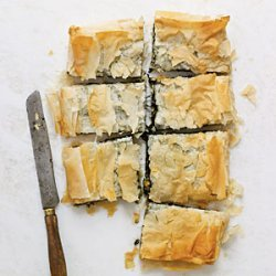 Spinach Pie with Goat Cheese, Raisins, and Pine Nuts recipe