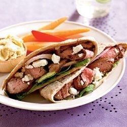 Greek Steak Pitas recipe