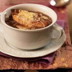 Onion Soup with Cheese Crostini recipe