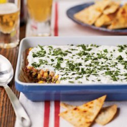 Party Bean Dip with Baked Tortilla Chips recipe