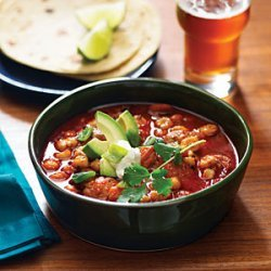 Speedy Chicken Posole with Avocado and Lime recipe