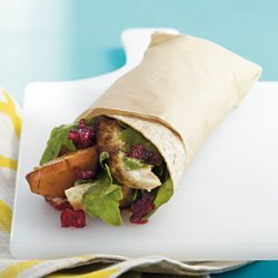 Grilled Chicken, Pear, and Arugula Wrap with Cranberry Vinaigrette recipe