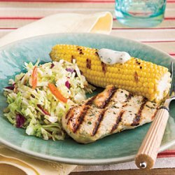 Grilled Chicken With Corn and Slaw recipe