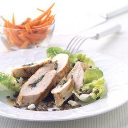 Herb-Stuffed Chicken with Caramelized Onion, Lentil, and Feta Salad recipe