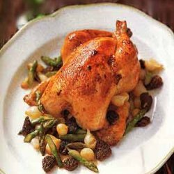 Roast Chicken with Asparagus, Morel, and Pearl-Onion Ragoût recipe