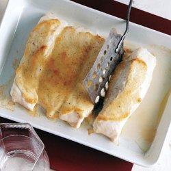Roasted Halibut with Garlic Sauce recipe