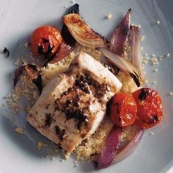 Mahimahi with Charred Onion, Tomatoes, and Tapenade Vinaigrette recipe