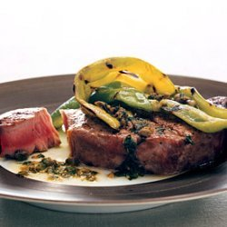 Grilled Tuna and Peppers with Caper Vinaigrette recipe
