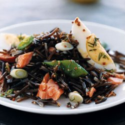Wild Rice with Smoked Fish and Snap Peas recipe
