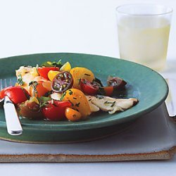 Fish with Curried Cucumber Tomato Water and Tomato Herb Salad recipe