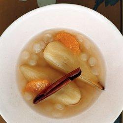 Tea-Poached Pears with Tapioca Pearls and Satsumas recipe