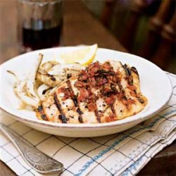 Salmon Trout with Garlic and Grilled Fennel recipe