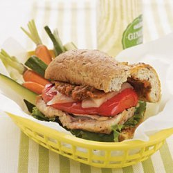 Grilled Chicken and Tomato Pesto Baguettes recipe
