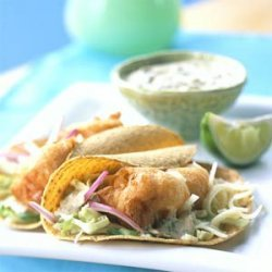 Beer-battered Fish Tacos with Baja Sauce recipe
