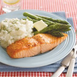 Roasted Salmon with Dill Mashed Potatoes recipe
