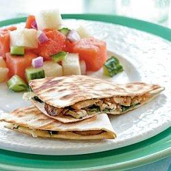 Chicken, Mushroom, and Gruyere Quesadillas recipe
