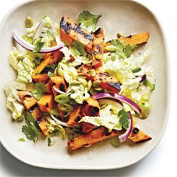 Grilled Sweet Potato and Napa Cabbage Salad with Lime Vinaigrette recipe