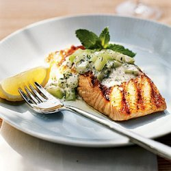 Grilled Salmon With Minted Cucumber Sauce recipe