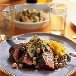 Seared Pimenton-Crusted Tuna with Chickpea Artichoke Salad recipe