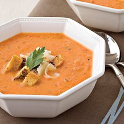 Roasted Red Pepper Soup With Pesto Croutons recipe