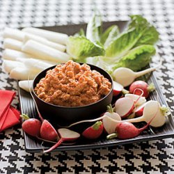 Red Pepper-Potato Dip with Crudites recipe