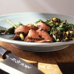 Asian Flank Steak with Asparagus and Wild-Rice Pilaf recipe
