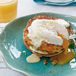 Horseradish Crab Cake Benedict with Simple Hollandaise recipe