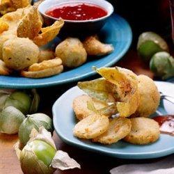 Fried Green Tomatillos with Jalapeño Dipping Sauce recipe