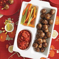 Herbed Cocktail Meatballs with Chunky Tomato Sauce recipe