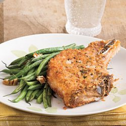Pork Chops With Roasted Green Beans and Pecans recipe