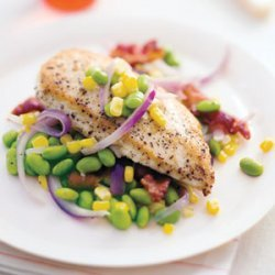 Sauteed Chicken with Corn and Edamame recipe