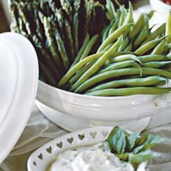Steamed Asparagus and Green Beans With Fresh Lemon-Basil Dip recipe
