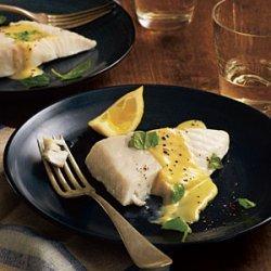 Basil-Steamed Halibut with Lemon Crème Sauce recipe