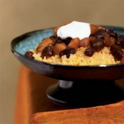 Couscous with Apple-Ginger Topping and Orange Sauce recipe