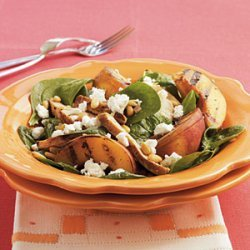 Grilled Chicken and Peach Spinach Salad with Sherry Vinaigrette recipe