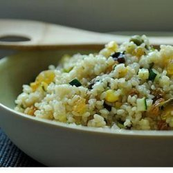 Summer Squash Couscous with Sultanas, Pistachios and Mint recipe