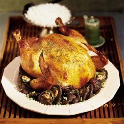 Soy-Ginger Roast Chicken with Shiitake Mushrooms recipe
